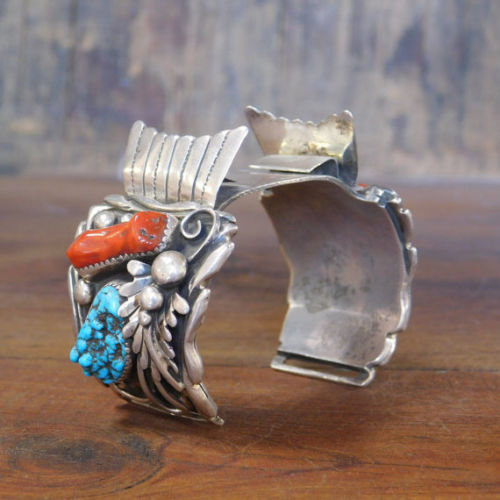 Vintage Southwest Sterling Silver, Coral, and Turquoise Watch Cuff Bracelet