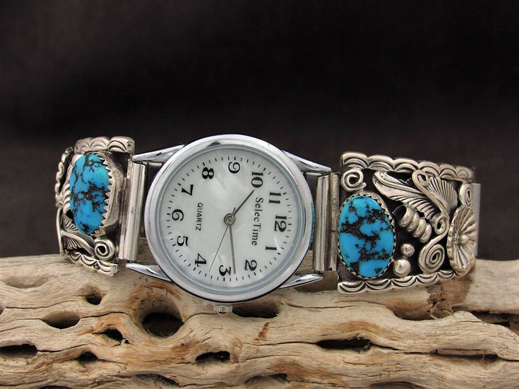 Southwestern Sterling Silver Turquoise Men's Watch