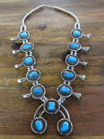 Southwestern Turquoise Sterling Silver Squash Blossom Necklace