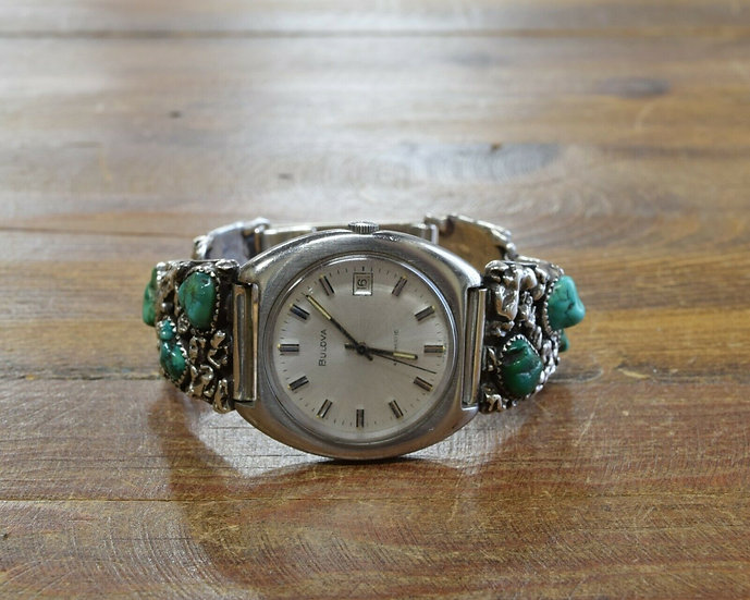 Vintage Southwestern Turquoise Sterling Silver Watch by Alberto Contreraz