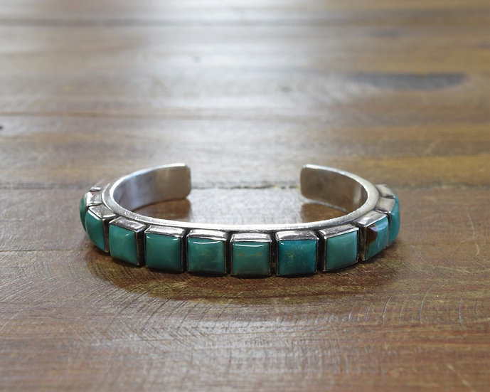 Vintage Navajo Sterling Silver and Green Turquoise Cuff Bracelet