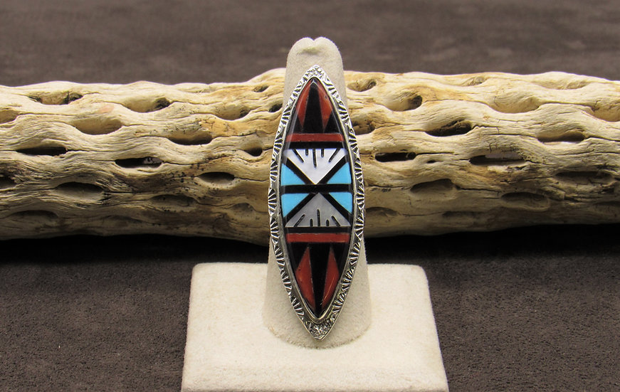 Large Sterling Silver Multi-Stone Inlay Ring Size 9.75 by Larry Leslie