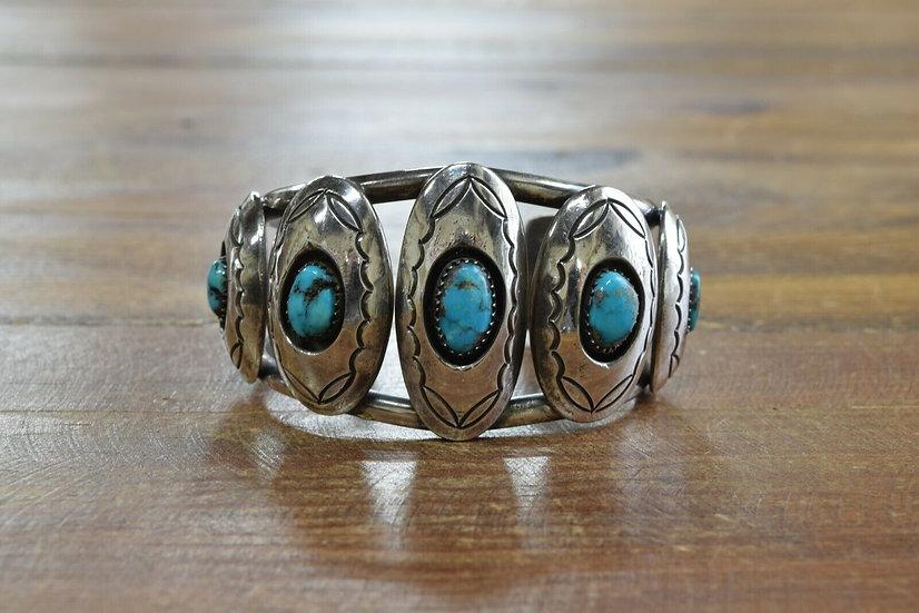 Vintage Navajo Sterling Silver Shadowbox Cuff Bracelet