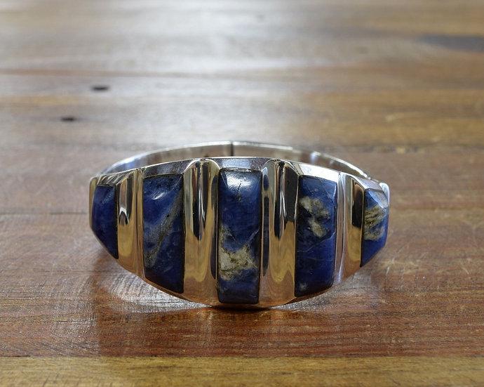 Vintage Mexico Sterling Silver Lapis Hinge Bracelet