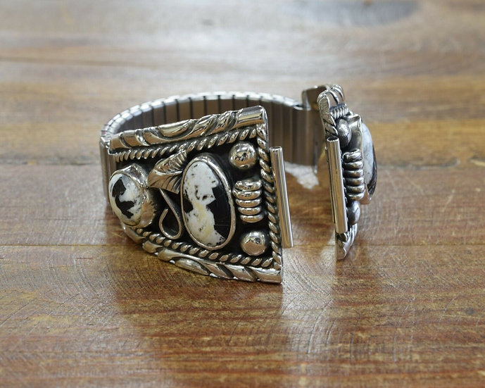 Navajo Sterling Silver and White Buffalo Watch Band