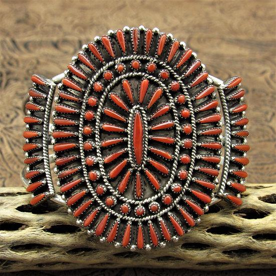 Stunning Zuni Needlepoint Coral Cluster Cuff Bracelet