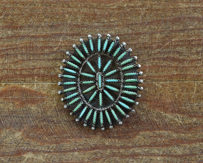 Vintage Sterling Silver and Turquoise Needlepoint Pin/Pendant