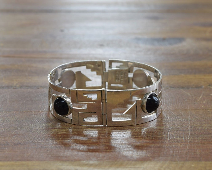 Sterling Silver and Black Onyx Hinged Link Bracelet from Mexico
