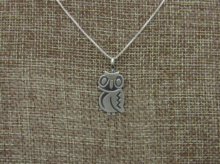 Navajo Sterling Silver Owl Overlay Necklace by Robert Gene