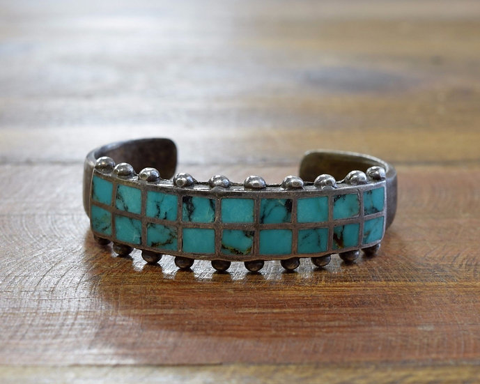Vintage Southwest Turquoise Inlay Sterling Silver Cuff Bracelet
