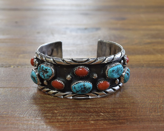 Southwest Sterling Silver Men's Cuff Bracelet with Coral and Turquoise Stones