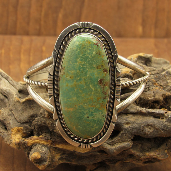 Large Oval Green Turquoise and Serling Silver Cuff Bracelet
