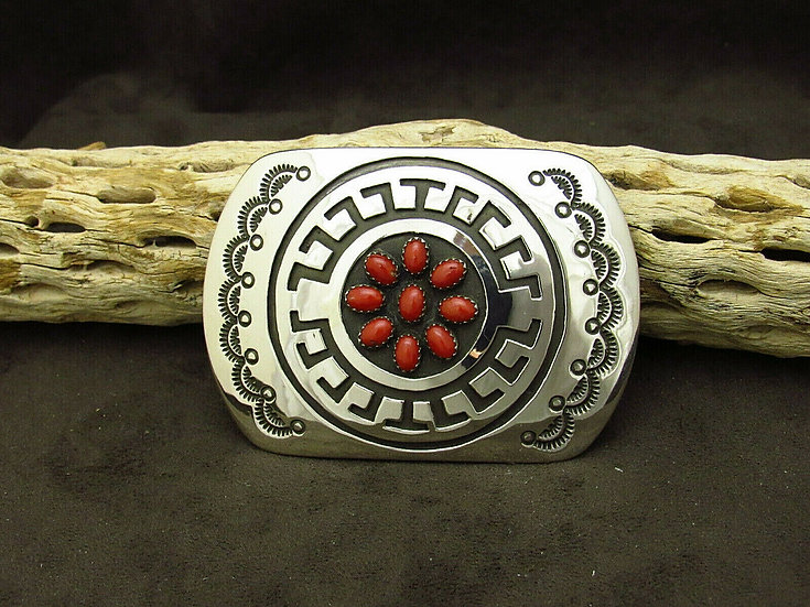 Navajo Sterling Silver Overlay Coral Buckle by Rosco Scott