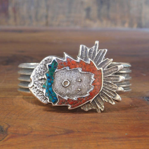 Vintage Native American Sterling Silver Chip Inlay Cuff Bracelet