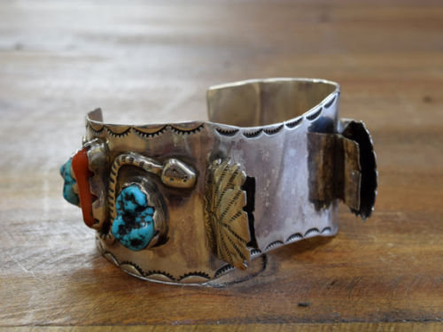Vintage Sterling Turquoise & Coral Watch Cuff Bracelet with Snake Design