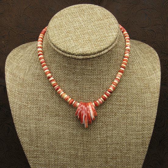 Southwestern Red Spiny Oyster Shell Necklace