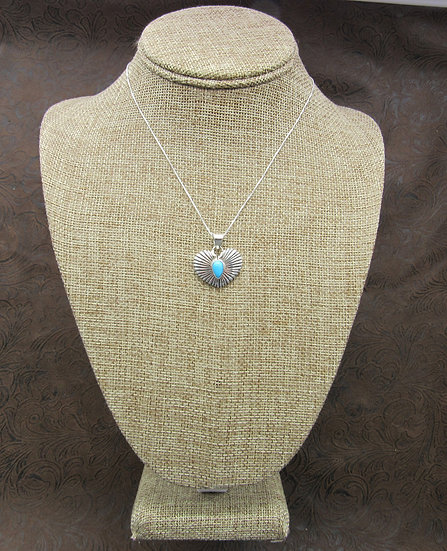 Southwest Sterling Silver and Turquoise Heart Necklace