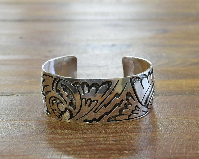 Vintage Navajo Sterling Silver Eagle Overlay Cuff Bracelet