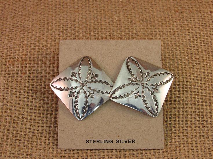 Navajo Sterling Silver Hand Stamped Earrings
