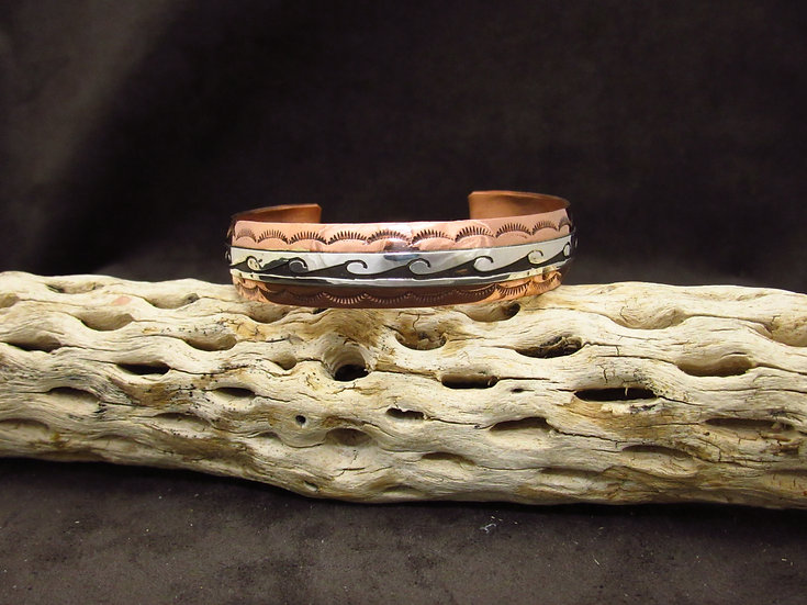 Sterling Silver and Copper Wave Cuff Bracelet