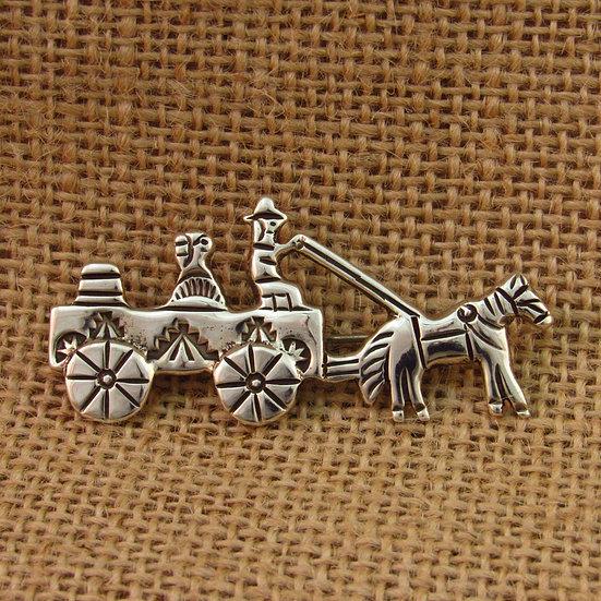 Navajo Sterling Silver Wagon Pin