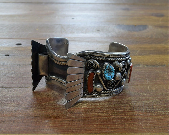 Vintage Turquoise and Coral Sterling Silver Watch Cuff Bracelet