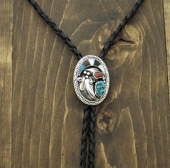 Vintage Southwestern Sterling Silver Turquoise, Coral and Multicolor Inlay Bolo
