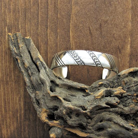 Vintage Sterling Silver Stamped Design Bracelet