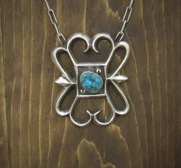 Sandcast Sterling Silver Turquoise Necklace with Handmade Chain