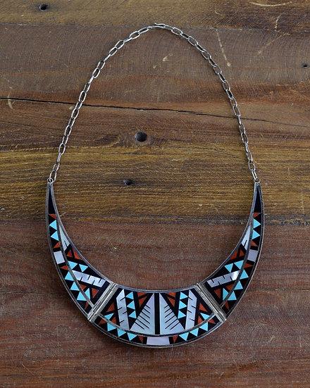 Vintage Zuni Multi-Stone Inlay Sterling Silver Bib Necklace