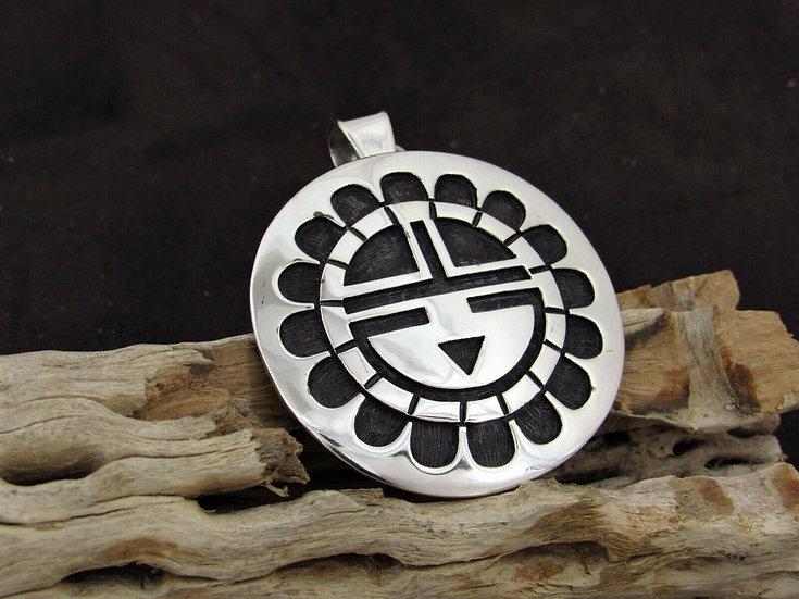 Sterling Silver Sunface Overlay Pendant