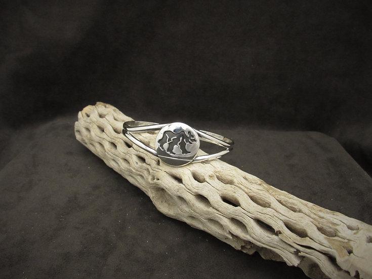 Sterling Silver Navajo Bear Cuff Bracelet by Rosco Scott