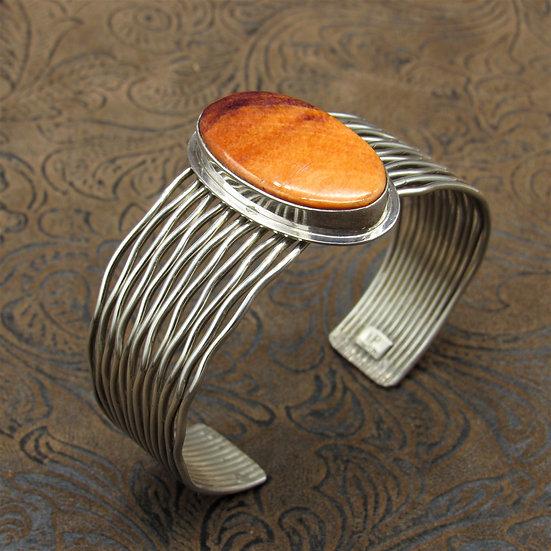 Sterling Silver Cuff Bracelet With Oval Orange Spiny Oyster