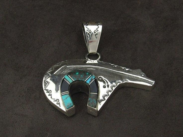 Sterling Silver Multi Stone Inlay Bear Pendant