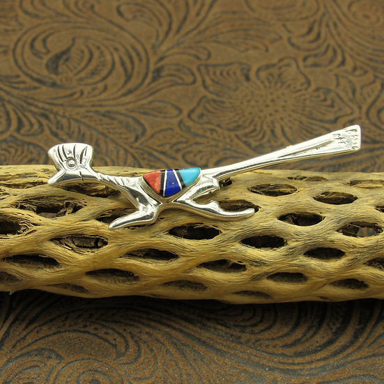 Sterling Silver Multi Stone Inlay Roadrunner Pin