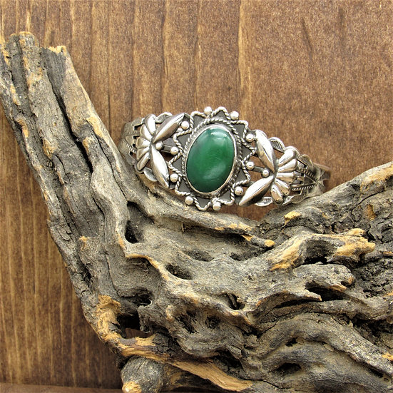Vintage Fred Harvey Era Sterling Silver and Green Turquoise Cuff Bracelet