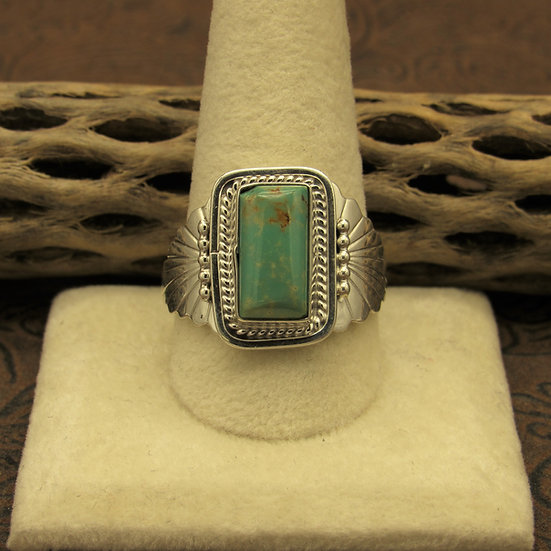 Southwest Sterling Silver and Green Turquoise Ring Size 11.5
