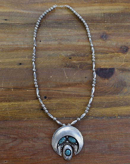 Vintage Sterling Silver and Turquoise Necklace