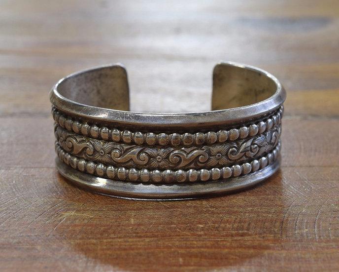 Vintage Floral Sterling Silver Cuff Bracelet