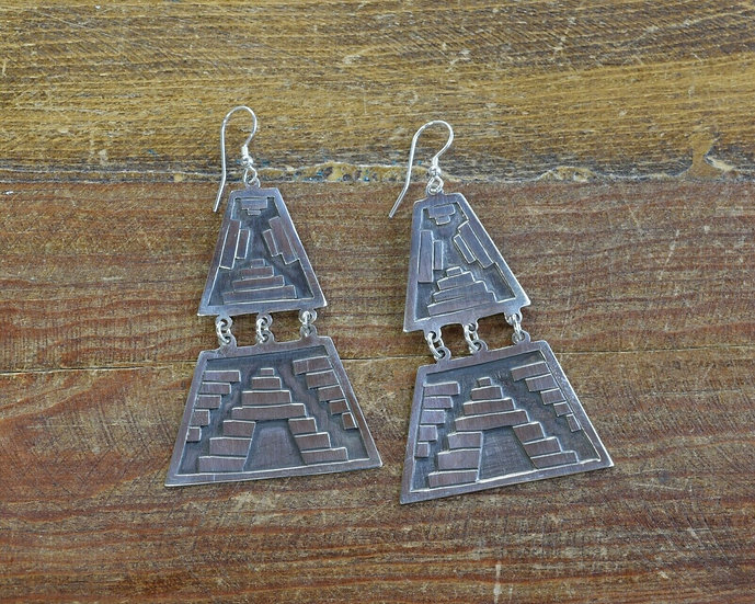 Vintage Mexican Sterling Silver Geometric Statement Earrings