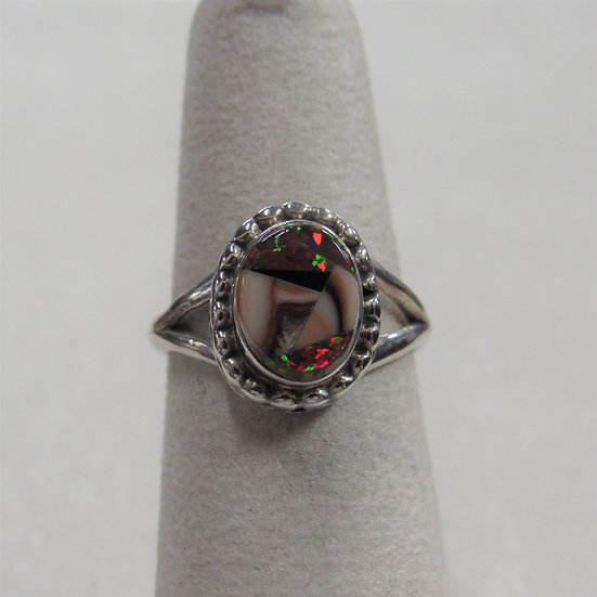 Sterling Silver and Lab Created Opal Ladies Ring Size 5.25