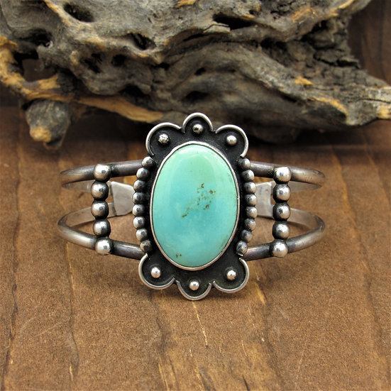 Lovely Vintage Sterling Silver and Turquoise Cuff Bracelet