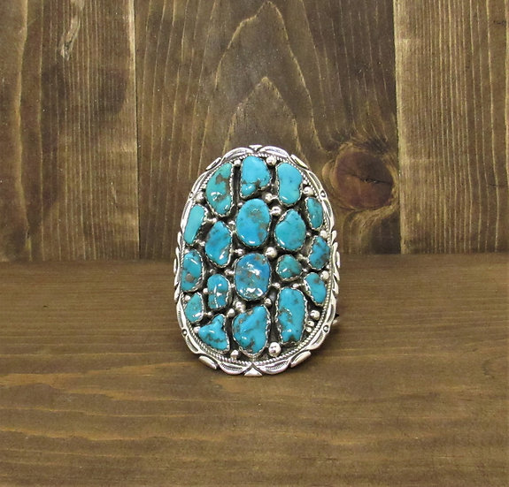 Stunning Vintage Navajo Sterling Silver and Turquoise Cuff Bracelet by Richard T