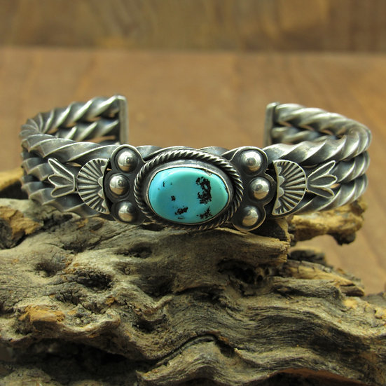Southwest Oxidized Heavy  Sterling Silver Cuff Bracelet with Turquoise