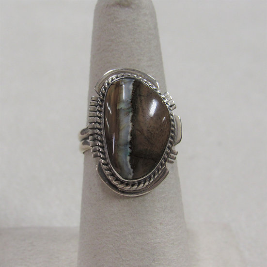 Southwest Sterling Silver and Brown Stone Ladies Ring Size 6.5