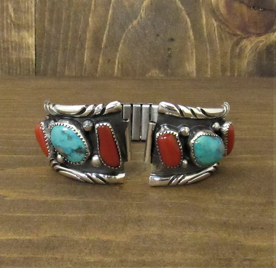 Classy Men's Southwest Sterling Silver, Coral and Turquoise Watch Band