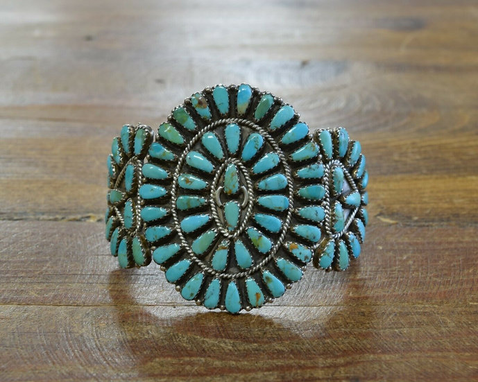 Navajo Sterling Silver and Turquoise Cluster Cuff Bracelet by Larry Moses Begay