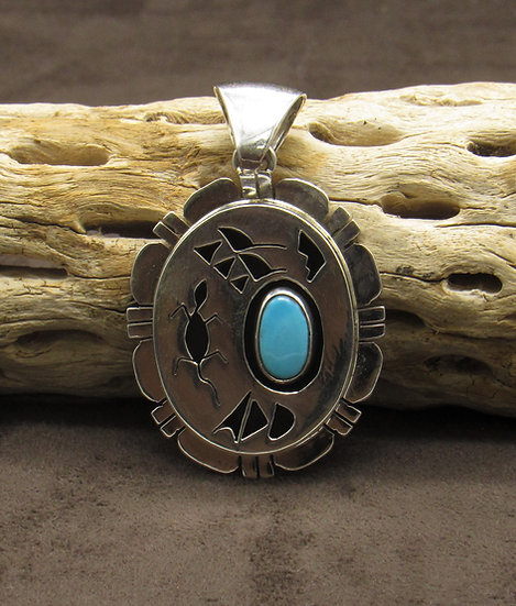 Sterling Silver Turquoise Lizard Shadow Box Pendant