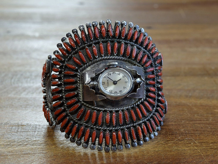 Vintage Zuni Sterling Silver Needlepoint Coral Watch Cuff Bracelet