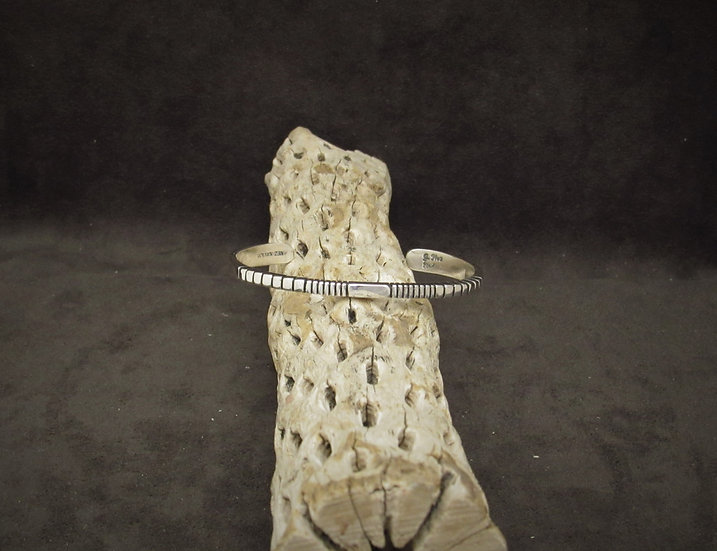 Navajo Sterling Silver Stamped Square Cuff Bracelet by Julian Nez